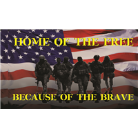 Home of Free Because of Brave Flag