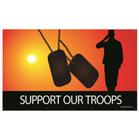 Support Our Troops w/ Soldier & Dog Tags Banners
