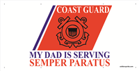 6'x3' Coast Guard Stripe Banner - Dad Serving