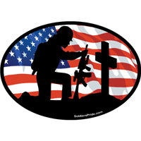 Kneeling Soldier Salute Female Color Flag Decal 1