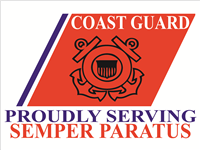 Coast Guard Stripe Yard Sign - Proudly Serving