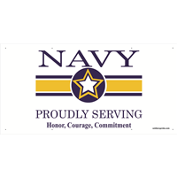 6'x3' Navy Star Banner - Proudly Serving