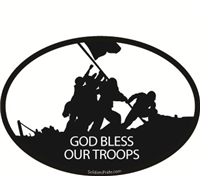 Raising Flag Iwo Jima God Bless Our Troops Decal