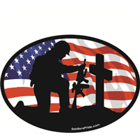 Kneeling Soldier Salute Male Color Flag Decal 1