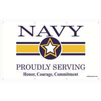 5'X3' Navy Star Banner - Proudly Serving