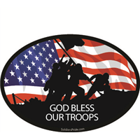 Raising Flag God Bless Our Troops Flag Decal
