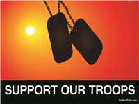 Support Our Troops Dog Tags Sunset Yard Sign