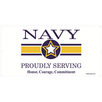 8'x4' Navy Star Banner - Proudly Serving