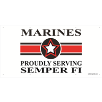 6'x3' Marines Star Banner - Proudly Serving