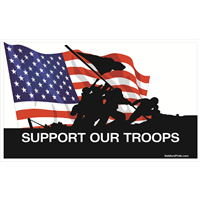 5'x3' Support Our Troops Iwo Jima Color Flag