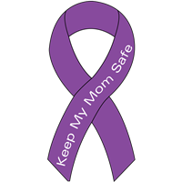 Ribbon Decal Mom Purple
