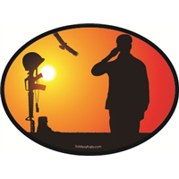 Male Soldier Salute Sunset Decal