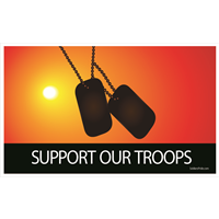 5'x3' Support Our Troops Dog Tag Sunset Flag