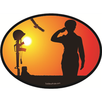 Female Soldier Salute Sunset Decal