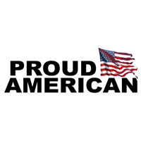 "11"" x 4"" Proud American with Flag Decal"