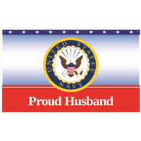 5'x3' Proud Husband Navy Banner