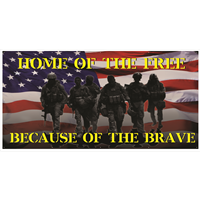 8'x4' Home of the Free Because of the Brave Banner