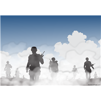 "51"" x 36"" Soldiers in Clouds Wall Decal"