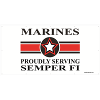 8'x4' Marines Star Banner -  Proudly Serving