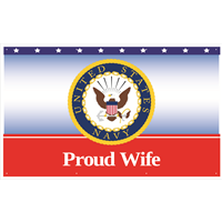 5'x3' Proud Wife Navy Banner
