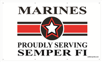 5'X3' Marines Star Banner - Proudly Serving