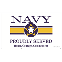 5'X3' Navy Star Banner - Proudly Served