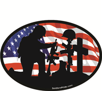 Kneeling Soldier Salute Male Color Flag Decal 2