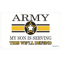 5'x3' Army Star Banner - Son Serving
