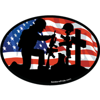 Kneeling Soldier Salute Female Color Flag Decal 2