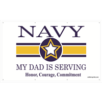 5'x3' Navy Star Banner - Dad Serving