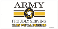 8'x4' Army Star Banner - Proudly Serving