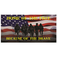 6'x3' Home of the Free Because of the Brave Banner