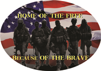 Home of the Free Because of Brave Decal