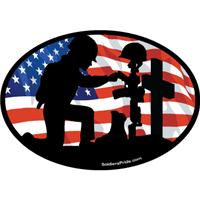 Kneeling Soldier Salute Female Color Flag Decal 3