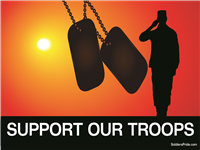 Support Our Troops Male Soldier Yard Sign
