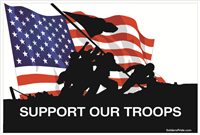 3'x2' Support Our Troops Iwo Jima Color Flag