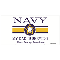8'x4' Navy Star Banner - Dad Serving
