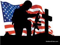Kneeling Soldier Salute w/ Flag Yard Sign 1