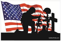 3'x2' Kneeling Soldier Male Flag 2