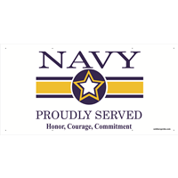 6'x3' Navy Star Banner - Proudly Served
