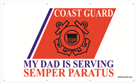 5'x3' Coast Guard Stripe Banner - Dad Serving