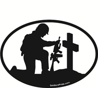 Kneeling Soldier Salute Male Black & White Decal 1