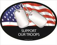 Support Our Troops Dog Tags Flag Decal