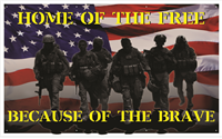 5'x3' Home of the Free Because of the Brave Banner