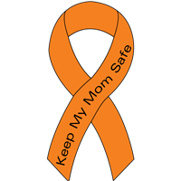 Ribbon Decal Mom Orange