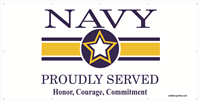 8'x4' Navy Star Banner - Proudly Served