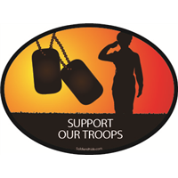 Support Our Troops Female Soldier Salute Decal